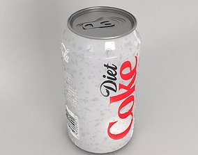 3D model Coke diet can with water drops
