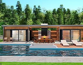 furniture pool house with fireplace and sauna 3d model