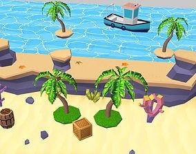Cartoon Sandy Beach 3D asset