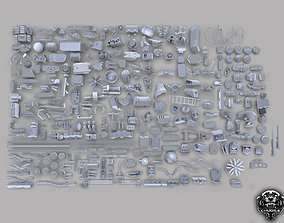 3D Sci-Fi Industrial Piece Kitbash Collection model