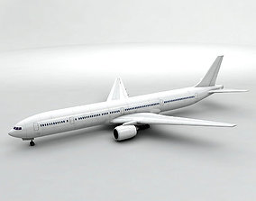 Boeing 777-300 Airliner - Generic White 3D asset