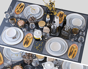 3D model Table setting with buckthorn