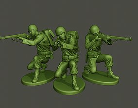 American soldier ww2 Shoot crouched A1 3D print model