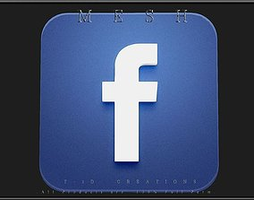 facebook icon 3D asset