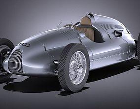 3D Auto Union Type D 1938 race car