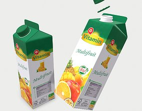 Orange Juice Carton - 1 Liter 3D model