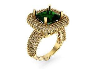 3D print model Diamond Designer Emerald Ring