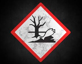 Hazardous to the environment warning sign 3D asset