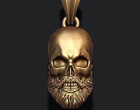 3D print model Bearded skull pendant
