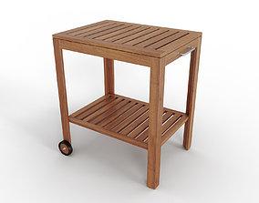 3D model APPLARO KLASEN Serving cart outdoor brown stained
