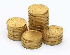 Gold Coins 3D model realtime