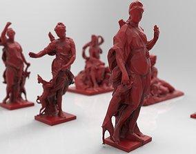 3D model Stylized low poly sculptures statues louvre 3