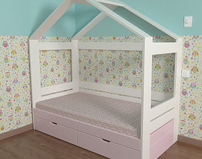 3D Bed Scandinavia with drawer bed