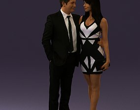 Man and woman in evening dresses 0591 3D print model
