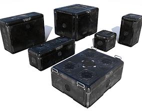 Sci Fi old black cargo crates 3D asset
