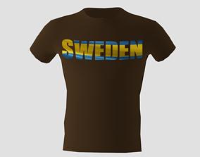 Low poly Sweden shirt dark brown colour 3D asset