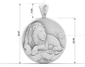 leon lion pendant zodiac sign 3D print model
