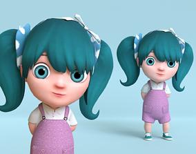 3D asset Cartoon Baby Girl