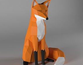 fox low poly style 3D asset