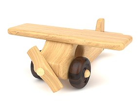 3D model Wooden toy airplane 02