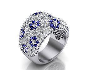 Diamond fashion ring with Blue Sapphires 3D print model
