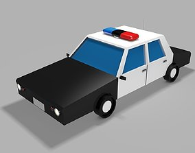 LOW POLY POLICE CAR 3D asset