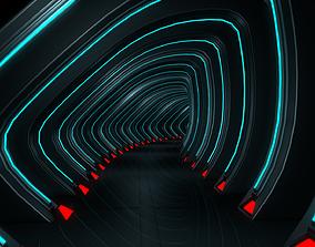 3D model VR / AR ready corridor Sci Fi Tunnel