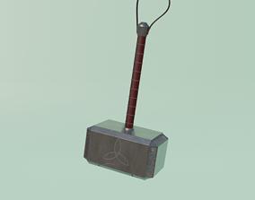 VR / AR ready Mjolnir Thor Hammer 3D Model low poly