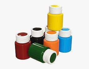 Gouache color paint jars 3D model