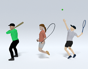 Low Poly Kids Playing Collection 3D model