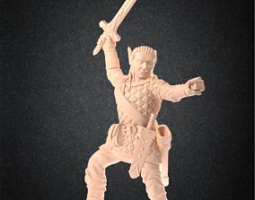 High elf paladin RPG Miniature - 3D print model 1