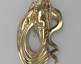 Sexy girl in silks Bas relief 3D printable model