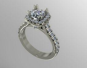 Halo engagement ring 3D printable model diamond-ring
