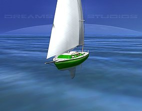 30 Foot Cutter Rigged Sloop V12 3D model