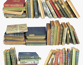 3D bookstore old books on a shelf set 6
