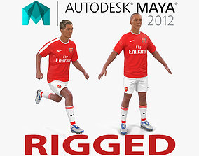Soccer Player Arsenal Rigged 2 for Maya 3D