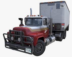 3D model Industrial van semitruck trailer