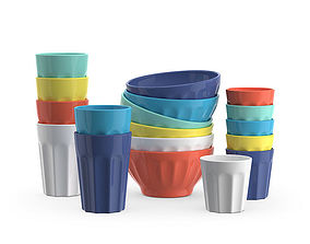 Ceramic bowls and cups 3D