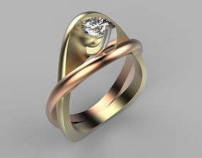 3D printable model Engagement ring Two or three metal tone