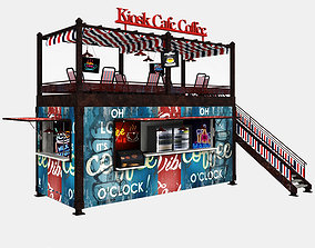 3D asset Container Kiosk Cafe 01
