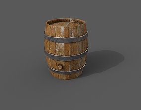 3D asset low-poly Wooden Barrel PBR