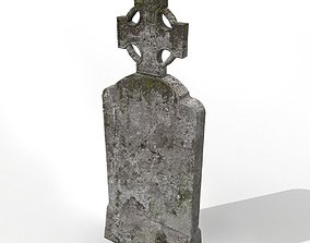 Grave with cross and moss 3D asset