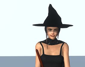 3D model Wicked witch with a broom
