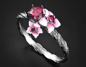 3D printable model Bright bloom enamel ring