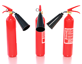Fire extinguisher 3D asset low-poly PBR hose