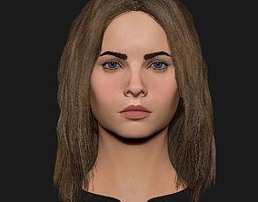 Realistic head cute blonde girl 1 3D asset