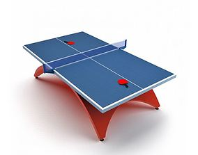 3D model Blue Table Tennis With Red Legs