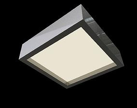 Rectangular modern ceiling light architectural 3D model 1
