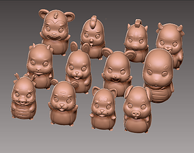 3D printable model sculpture 12 cute animals