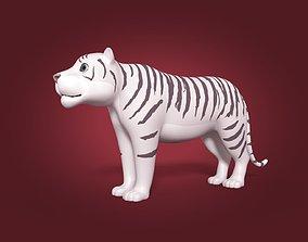 Cartoon White Tiger 3D asset